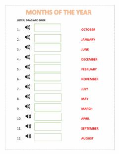 Ficha interactiva MONTHS OF THE YEAR