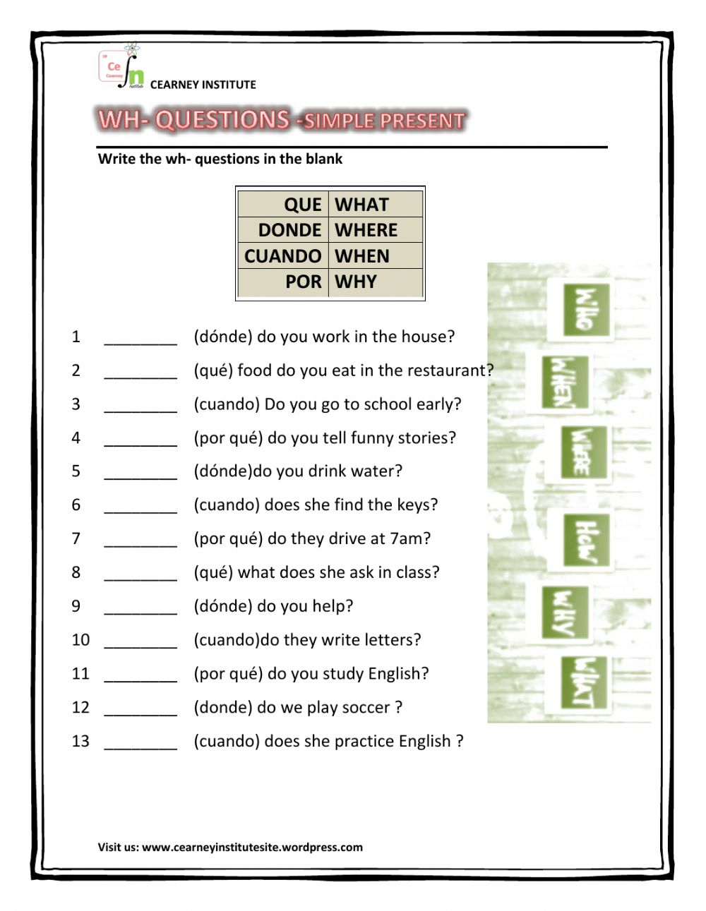 wh questions Interactive worksheet