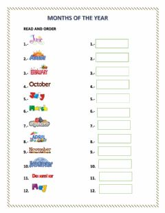 MONTHS OF THE YEAR worksheet preview