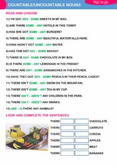 Ficha interactiva COUNTABLE-UNCOUNTABLE NOUNS