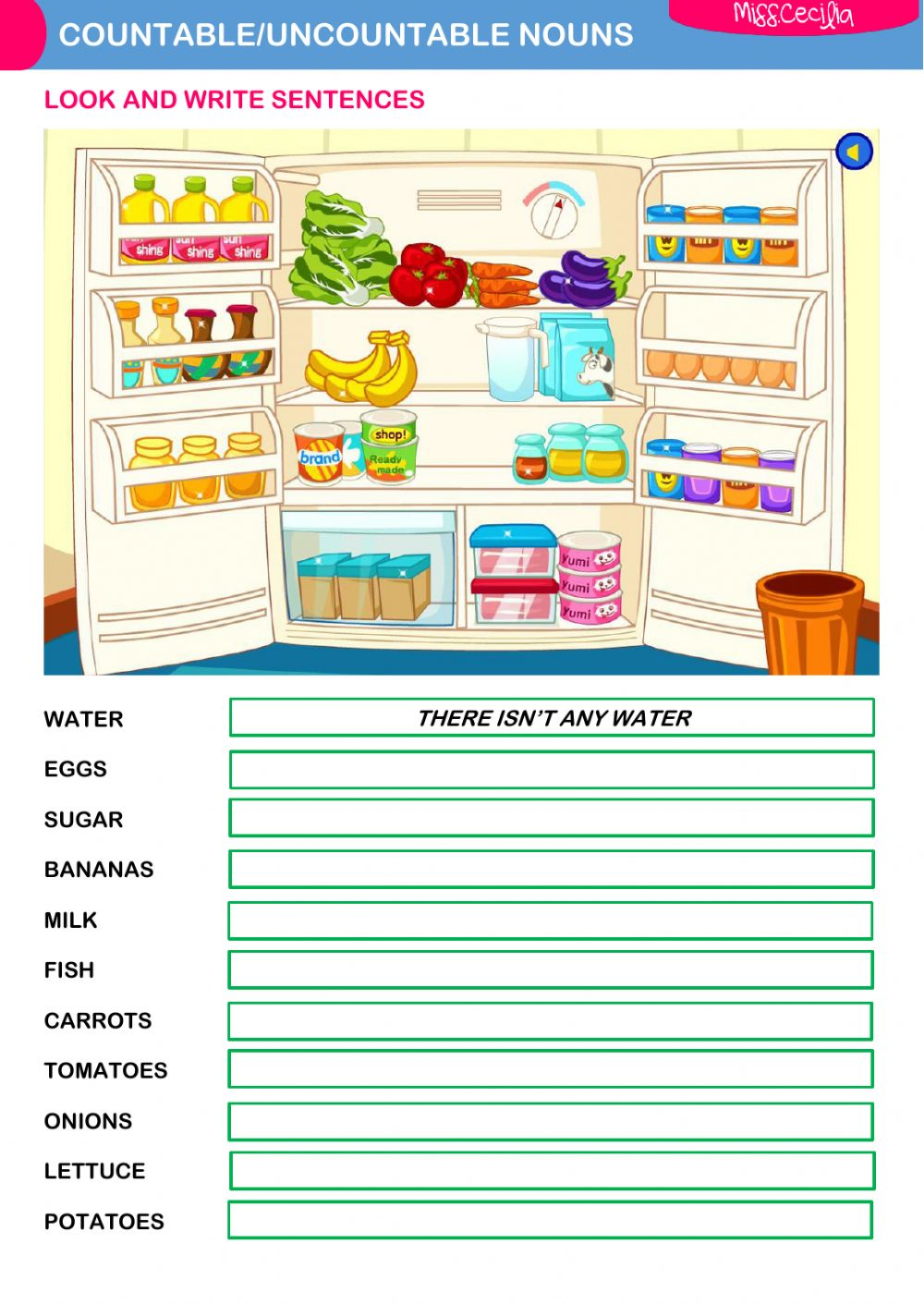 Free Worksheets nouns worksheet pdf : COUNTABLE-UNCOUNTABLE NOUNS - Interactive worksheet