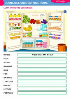 Interactive worksheet COUNTABLE-UNCOUNTABLE NOUNS