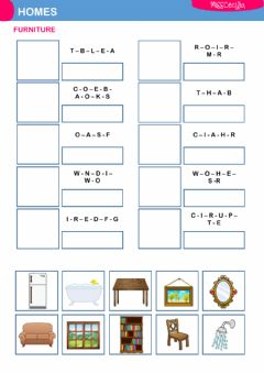 Interactive worksheet THE HOUSE - FURNITURE