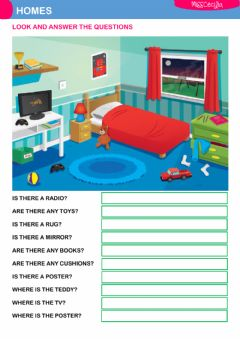 Interactive worksheet MY BEDROOM - QUESTIONS