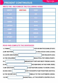 Interactive worksheet PRESENT CONTINUOUS (01)