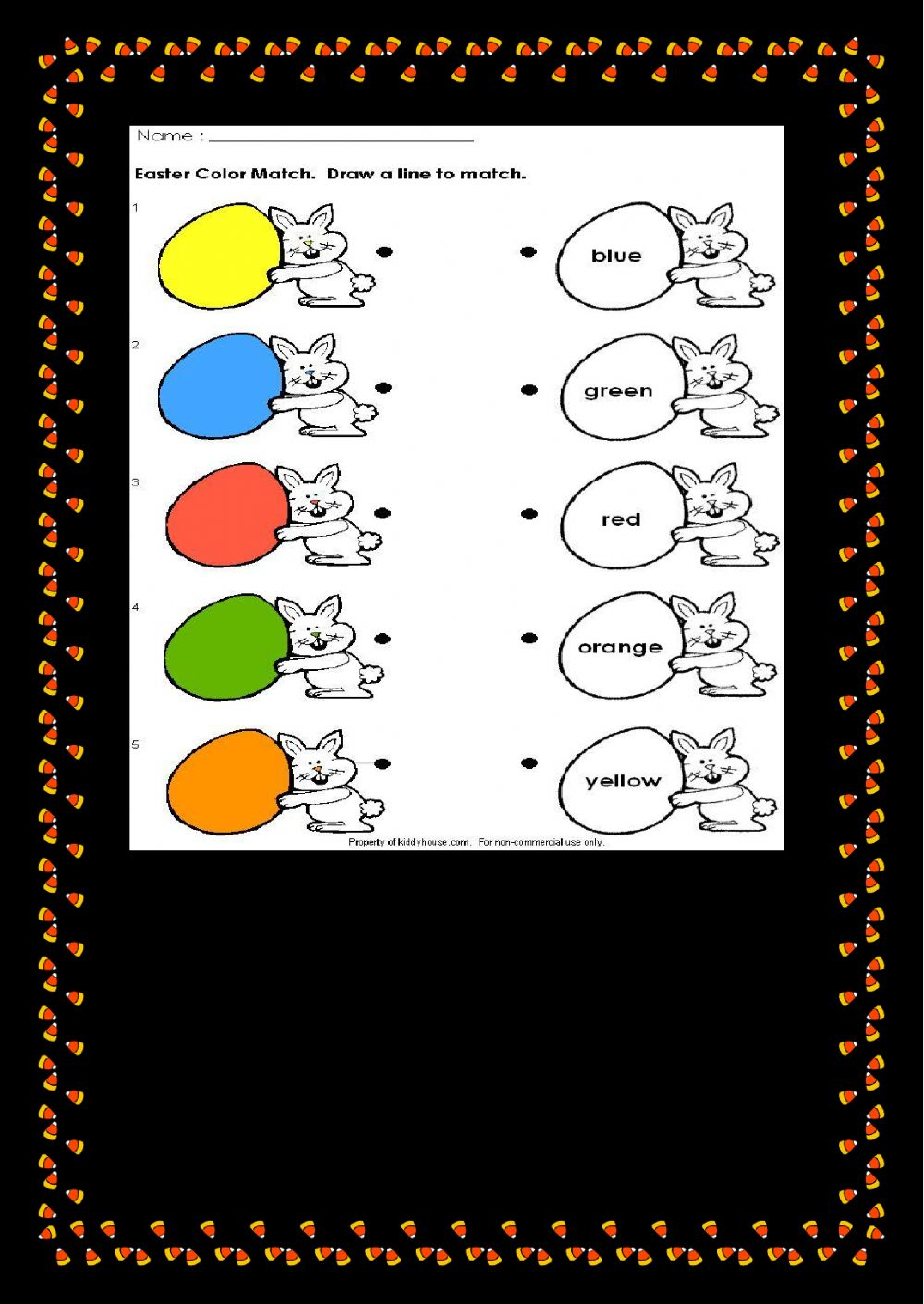Easter Colour Match Draw A Line To Match Worksheet