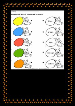Interactive worksheet Easter colour match draw a line to match
