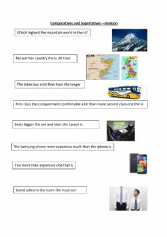 comparatives and superlatives - revision worksheet preview