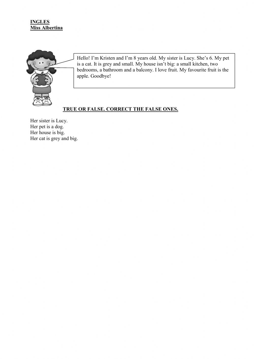 - Simple Reading Comprehension - Interactive Worksheet