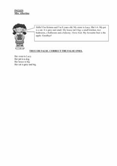 Interactive worksheet simple reading comprehension