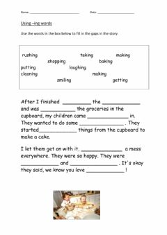Interactive worksheet Spelling with -ing