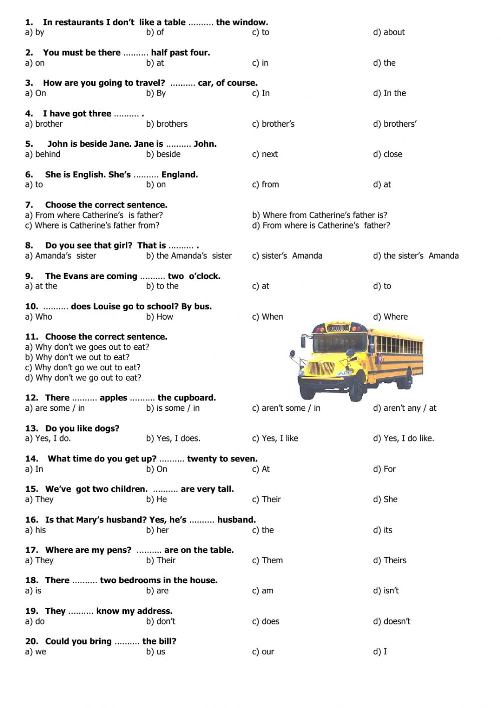 beginners multiple choice test 2 interactive worksheet. Black Bedroom Furniture Sets. Home Design Ideas