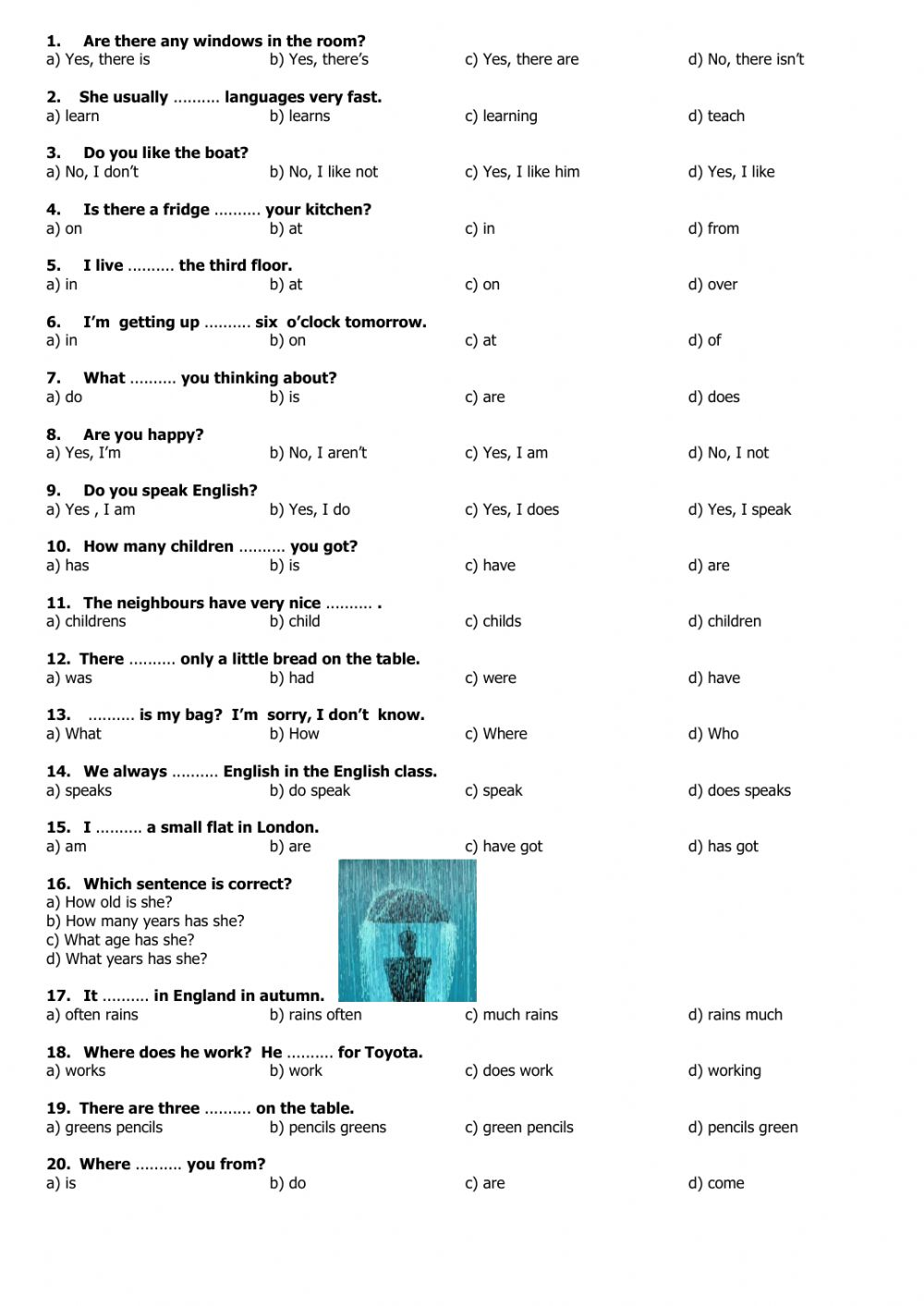 beginners multiple choice test 3 interactive worksheet. Black Bedroom Furniture Sets. Home Design Ideas