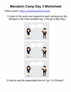 Interactive worksheet Mandarin Camp - Day 3