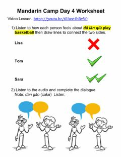 Interactive worksheet Mandarin Camp - Day 4