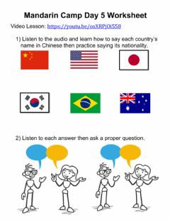 Interactive worksheet Mandarin Camp - Day 5