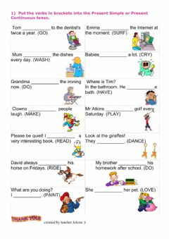 Interactive worksheet Present Simple vs Present Continuous