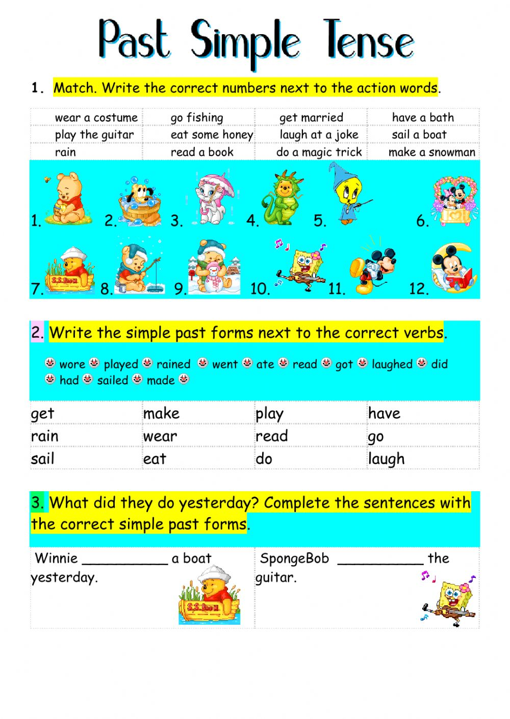Past Simple Tense Interactive worksheet – Simple Past Tense Worksheets