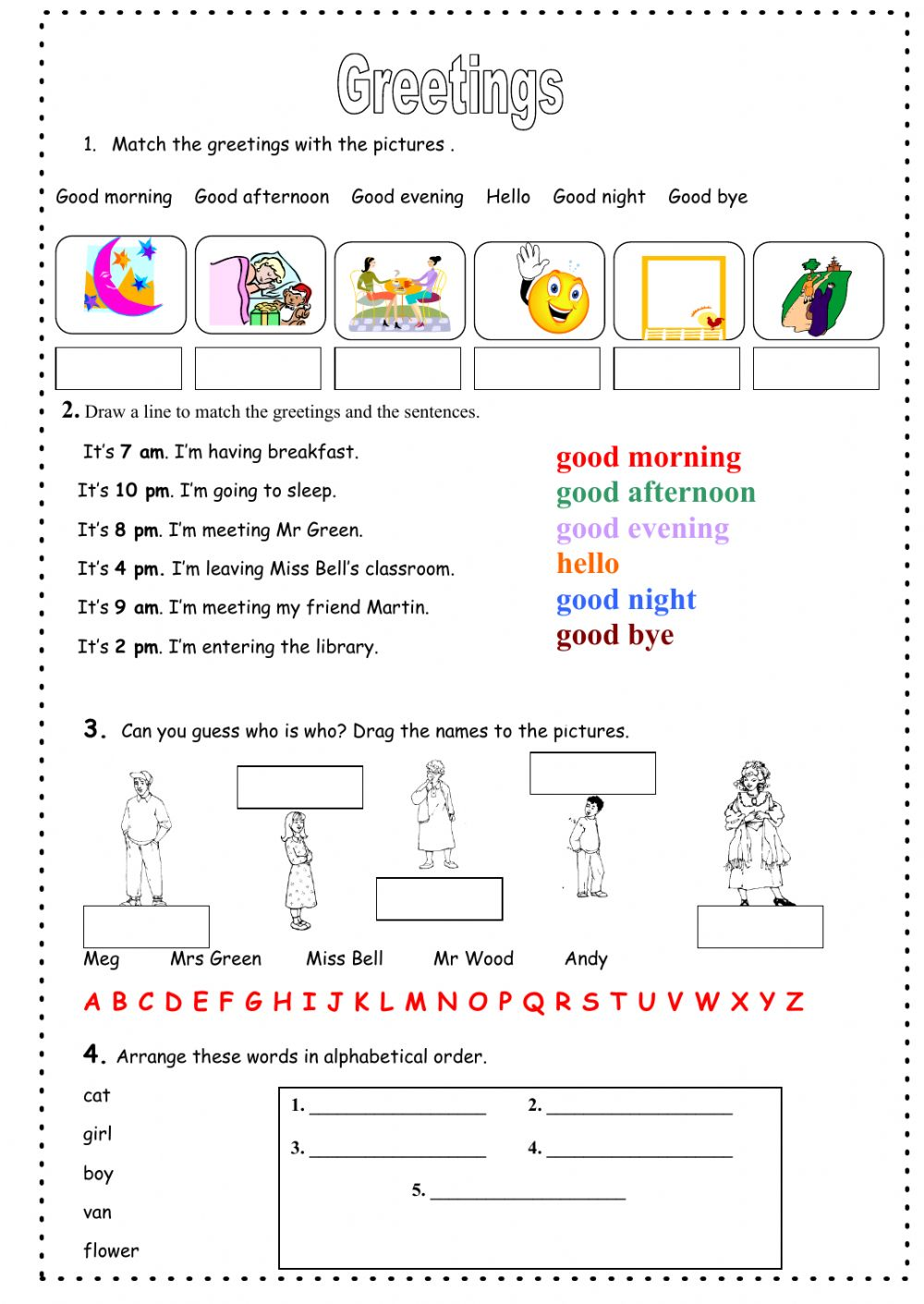 Greetings Interactive Worksheet