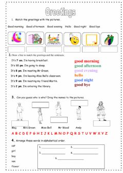 Greetings worksheet preview