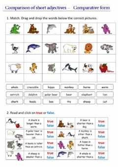 Interactive worksheet Comparison of short adjectives