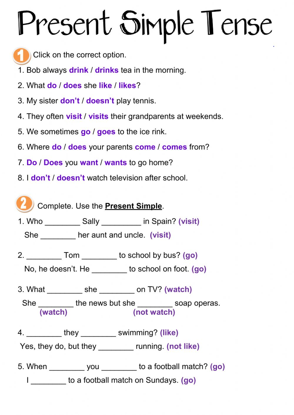 Present Simple Tense Interactive Worksheet