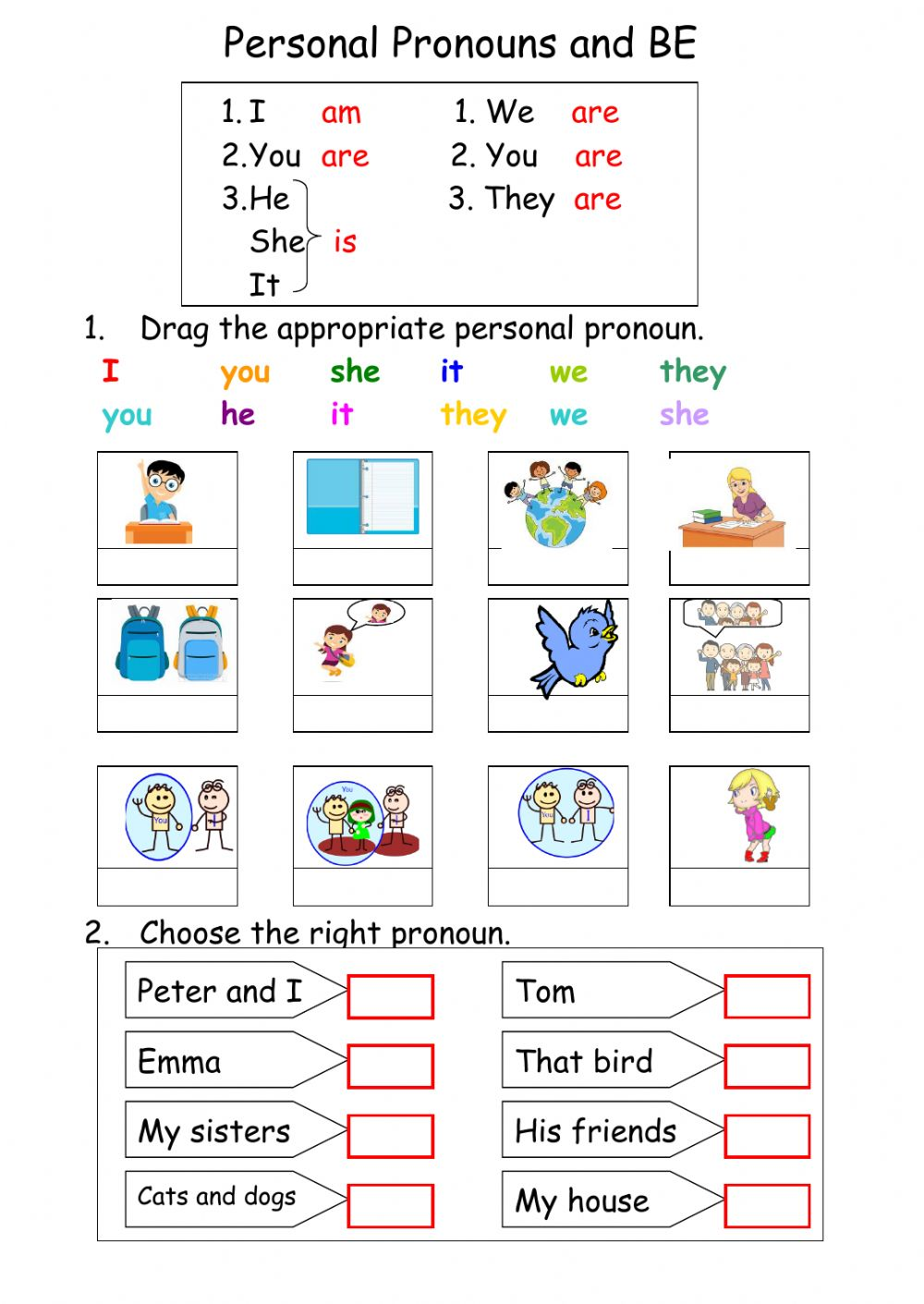 Verb To Be Interactive Worksheets