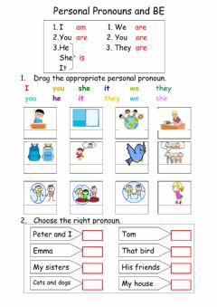 Personal pronouns and BE worksheet preview