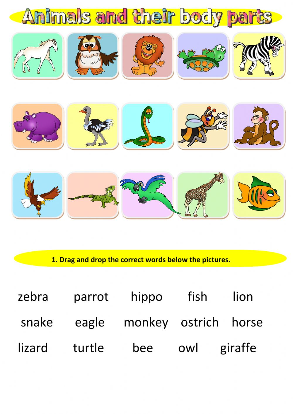 animals and their body parts interactive worksheet. Black Bedroom Furniture Sets. Home Design Ideas