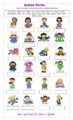 Action Verbs worksheet preview