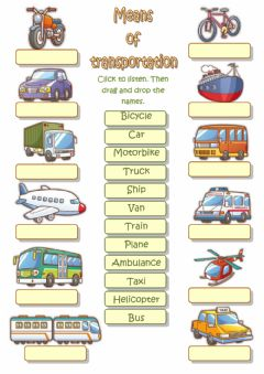 Means of transportation worksheet preview