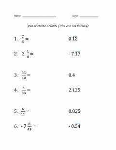 Ficha interactiva Fractions to decimals 1