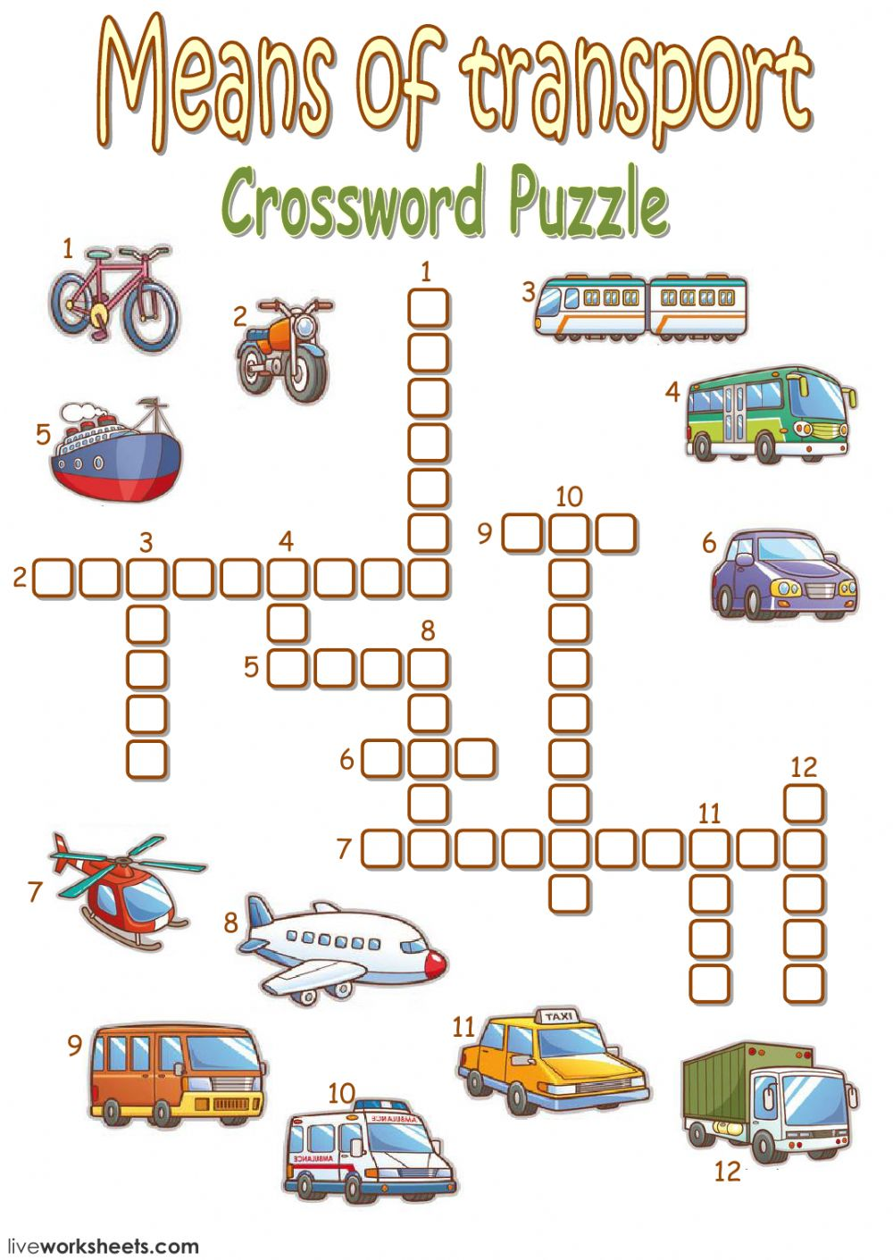 means of transport crossword puzzle interactive worksheet. Black Bedroom Furniture Sets. Home Design Ideas