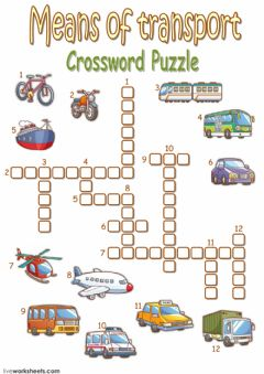 Interactive worksheet Means of transport crossword puzzle