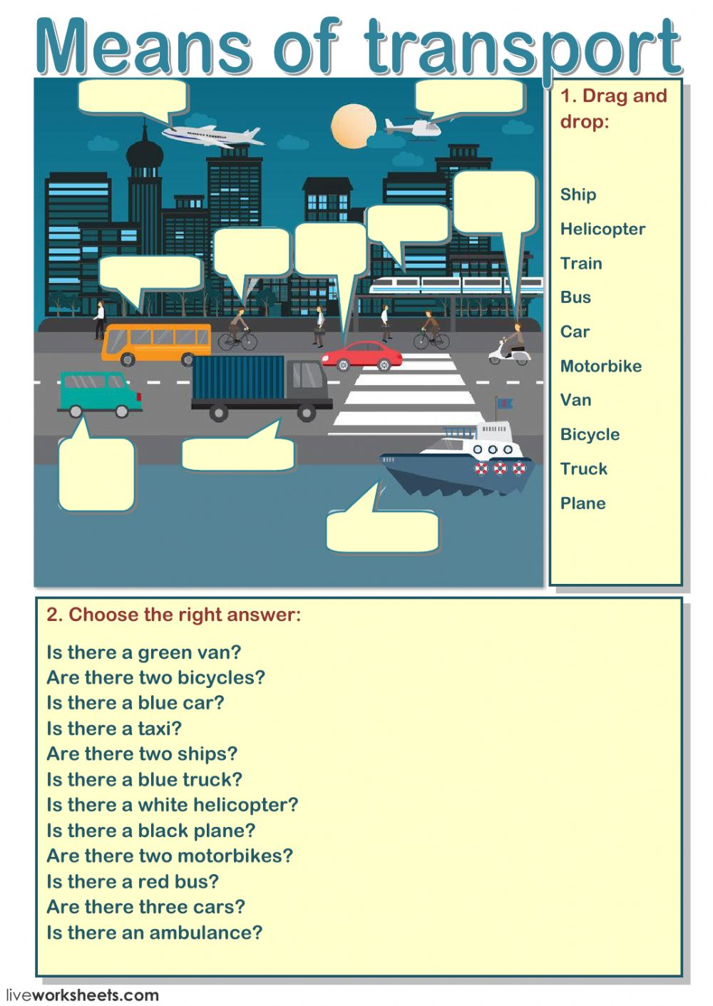 means of transport interactive worksheet