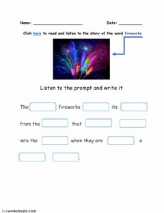 Interactive worksheet Word FIREWORKS and its story