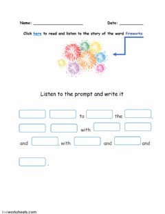 Interactive worksheet Word FIREWORKS and its story-2