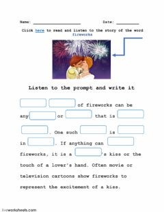 Interactive worksheet Word FIREWORKS and its story-4