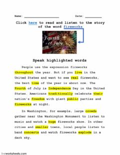 Word FIREWORKS and its story-5 worksheet preview