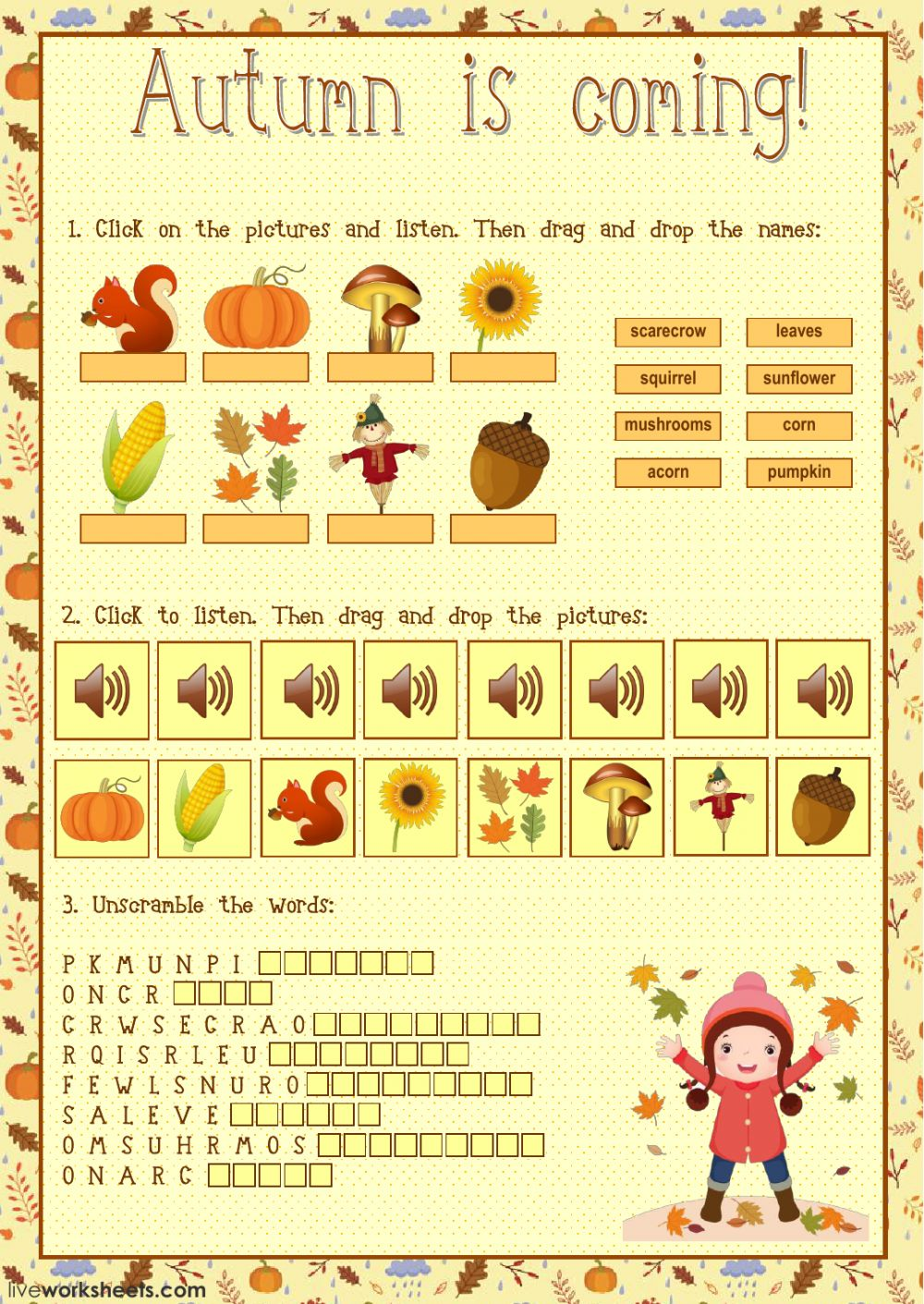 Autumn In Other Languages: Interactive Worksheet