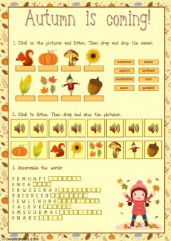 Interactive worksheet Autumn is coming!