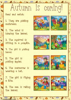 Interactive worksheet Autumn is coming! (reading)