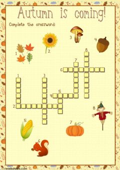 Interactive worksheet Autumn crossword