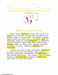 Interactive worksheet Word FIREWORKS and its story-6