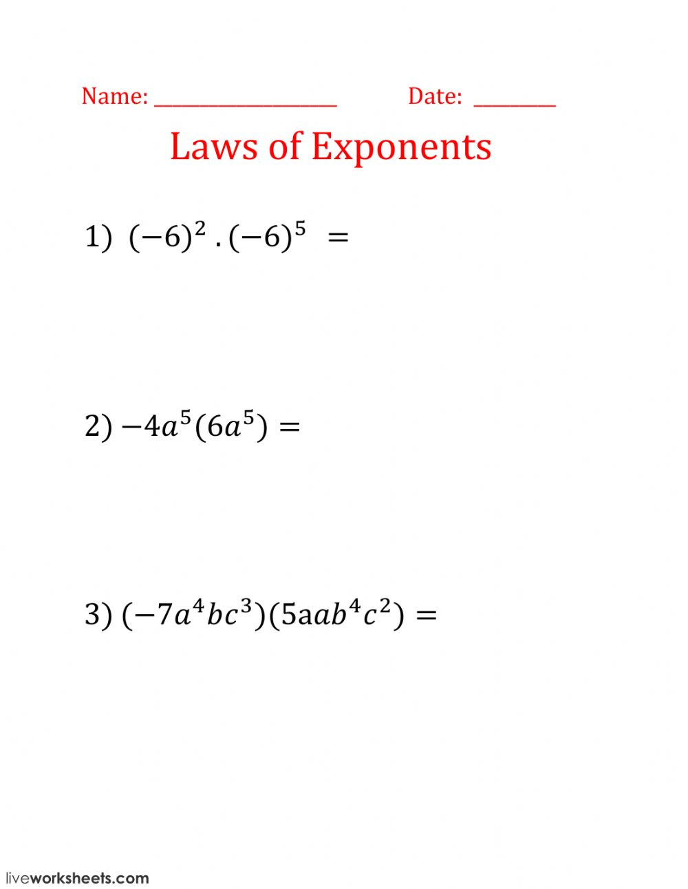 - Laws Of Exponents - Interactive Worksheet