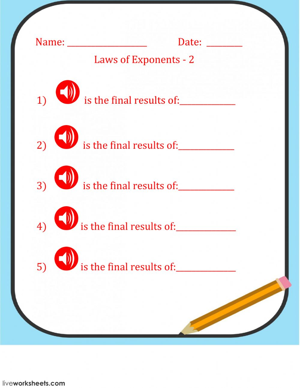 Laws Of Exponents 2 Interactive Worksheet