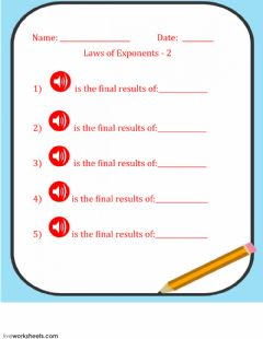 Interactive worksheet Laws of Exponents - 2