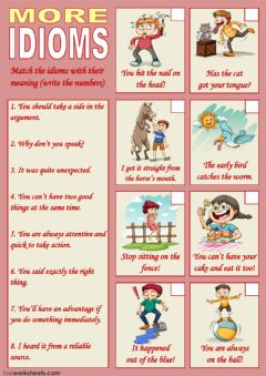 More Idioms 1 worksheet preview