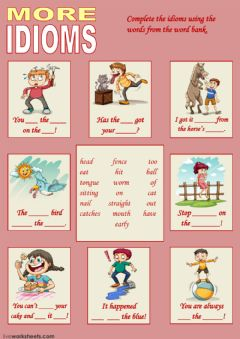 More Idioms 2 worksheet preview