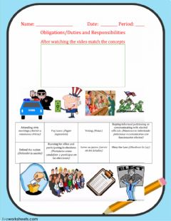 Interactive worksheet Obligations and Responsibilities